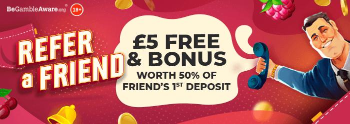 pocketwin online casino - refer a friend bonus - £5 free & bonus worth 50% of friend's 1st Deposit