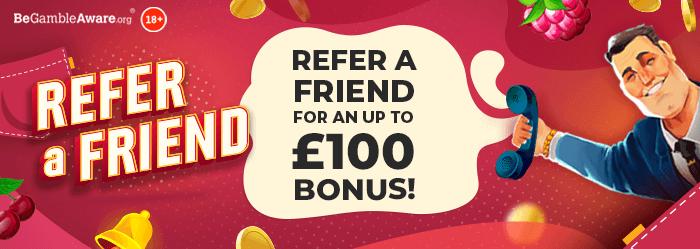 PocketWin Casino Refer a Friend Bonus - For an up to £100 bonus!