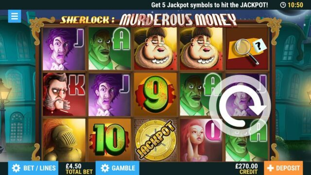 Murderous Money Online Slots at PoketWin Online Casino - in game image