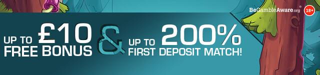 PokcetWin Online Casino Welcome Bonus banner - up to £10 Free Bonus & Up to 200% First Deposit Match - Join Today - desktop version