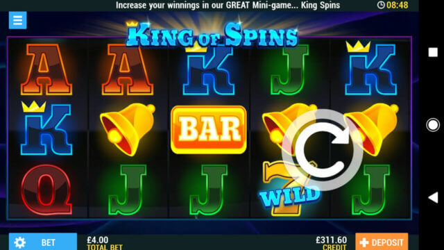 Playing King of Spins online slots at Pocketwin online casino