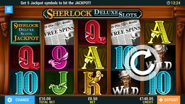Sherlock Deluxe Edition online slots at PocketWin online casino - In game screen