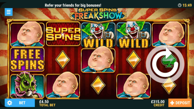 Super Spins Freakshow online slots at PocketWin Online Casino - Game of The Month