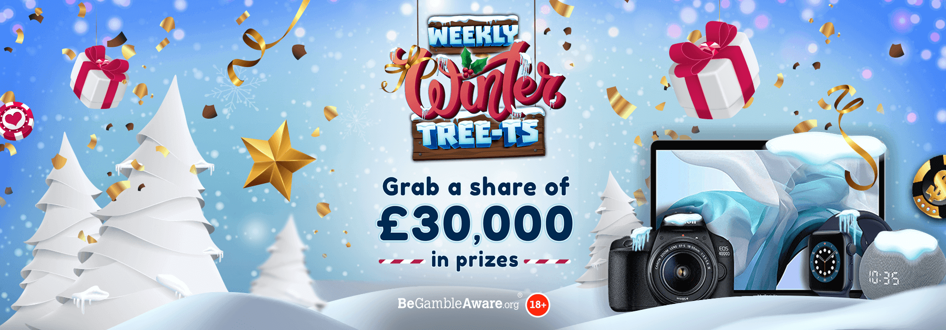 Win a share of £30,000 in prizes with PocketWin's Weekly Winter Tree-ts* this Christmas!